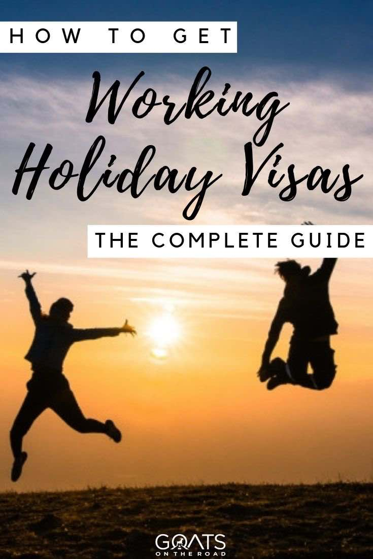 jumping in the air at sunset with text overlay how to get working holiday visas