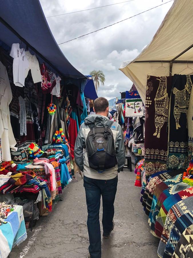 walking through the otavalo market