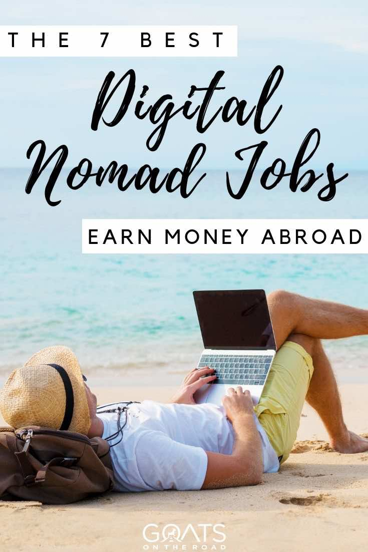 working at the beach with text overlay the 7 best digital nomad jobs