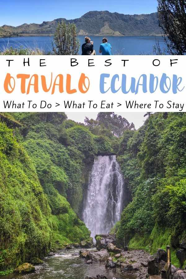 waterfall with text overlay the best of otavalo Ecuador