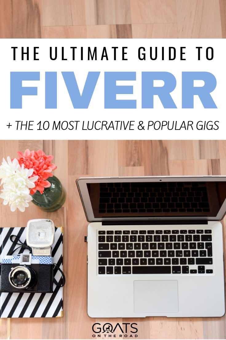 laptop and camera with text overlay the ultimate guide to fiverr