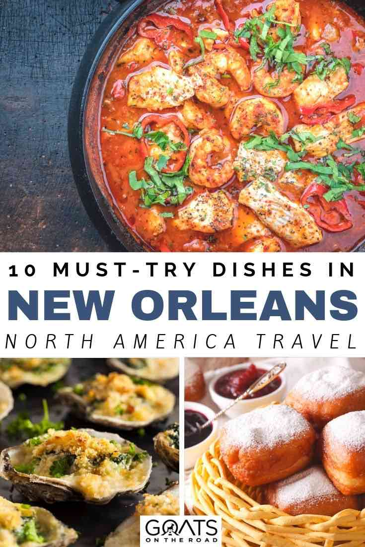 seafood dishes with text overlay 10 must try dishes in new orleans