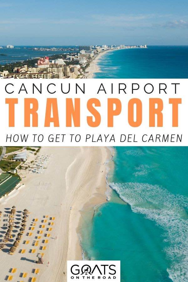 cancun drone photo with text overlay Cancun Airport transport guide