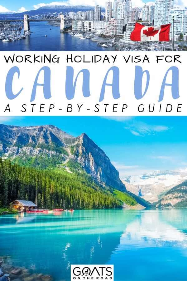 canada with text overlay how to get a working holiday visa
