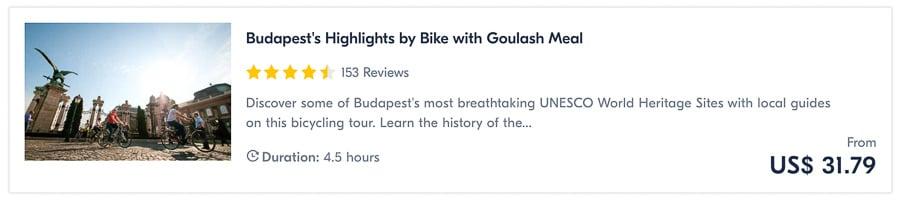 Tour à vélo et à manger à Budapest