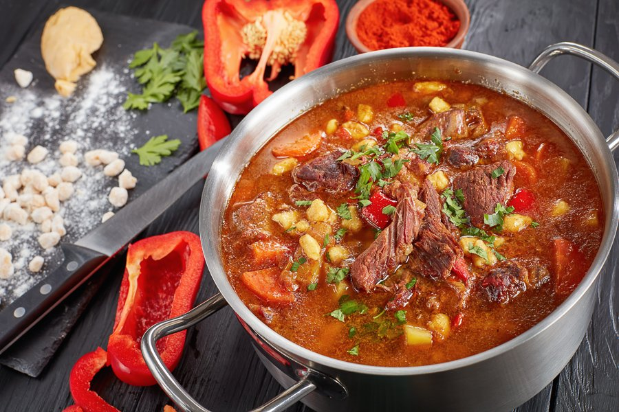 eating hungarian goulash in budapest