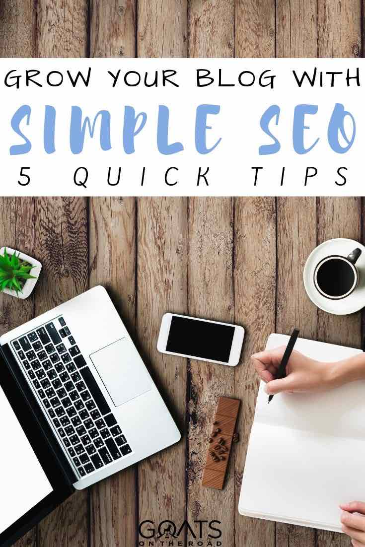 laptop with text overlay grow your traffic with Simple SEO