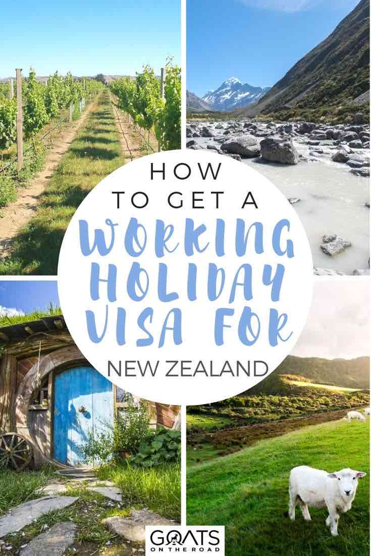 highlights of New Zealand with text overlay how to get a working holiday visa