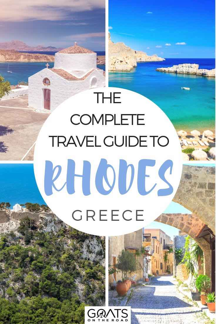 highlights of Rhodes with text overlay the complete guide to rhodes