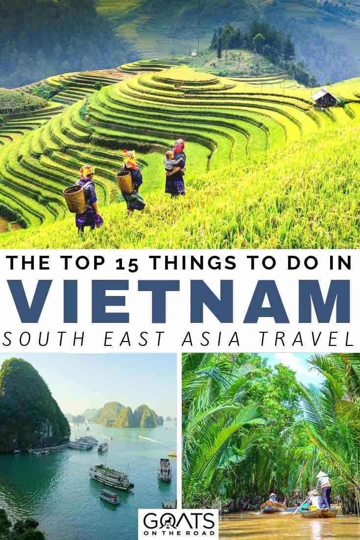 rice paddies with text overlay the top 15 things to do in vietnam