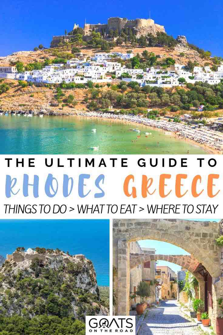 cove and architecture with text overlay the ultimate guide to rhodes greece