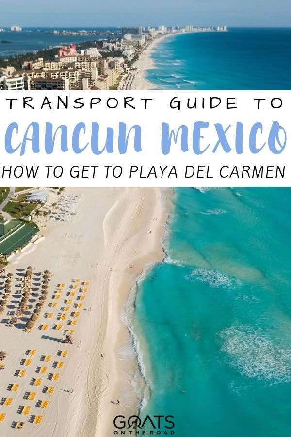 aerial photo of Cancun with text overlay transport guide to cancun mexico