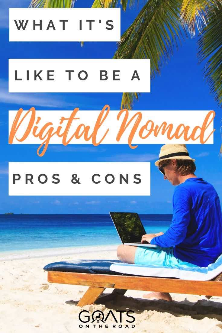 working at the beach with text overlay what its like to be a digital nomad