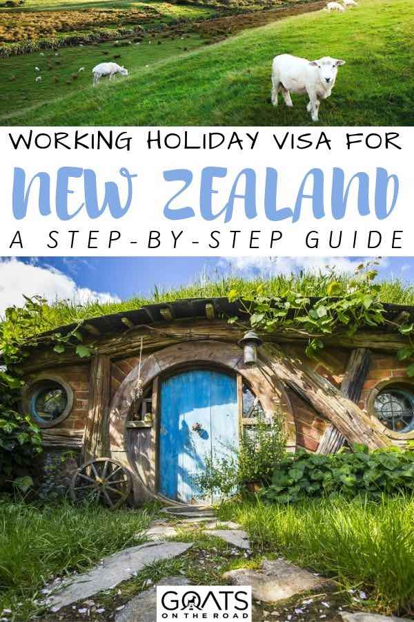 hobbit house with text overlay working holiday visa for new zealand