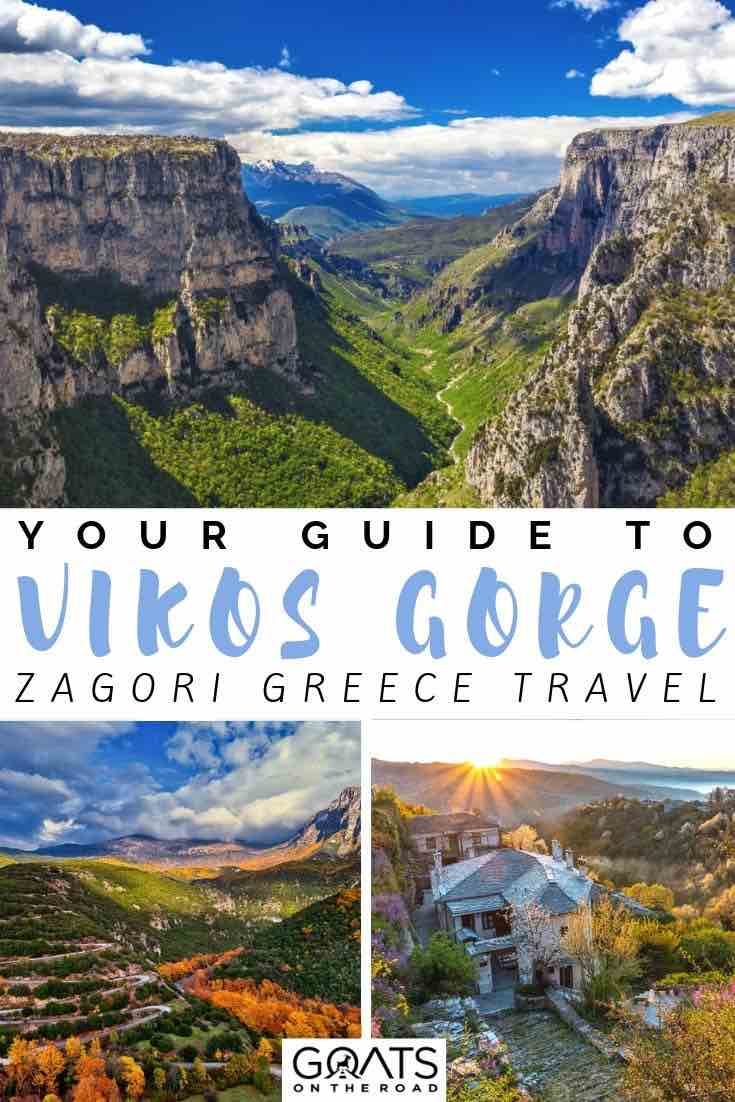 deep canyon with text overlay your guide to Vikos gorge