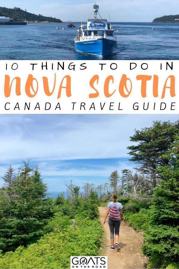 hiking trail with text overlay 10 things to do in nova scotia