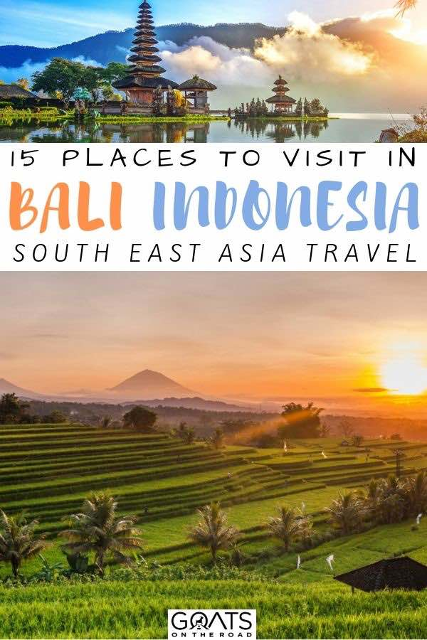 sunset over the rice paddies with text overlay 15 places to visit in bali