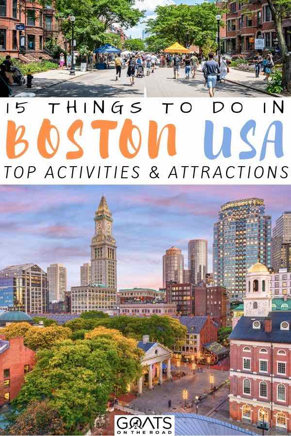 boston skyline with text overlay 15 things to do in boston usa
