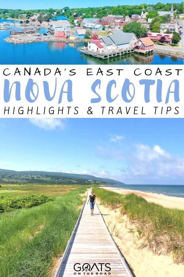 boardwalk with text overlay Canada's east coast nova scotia