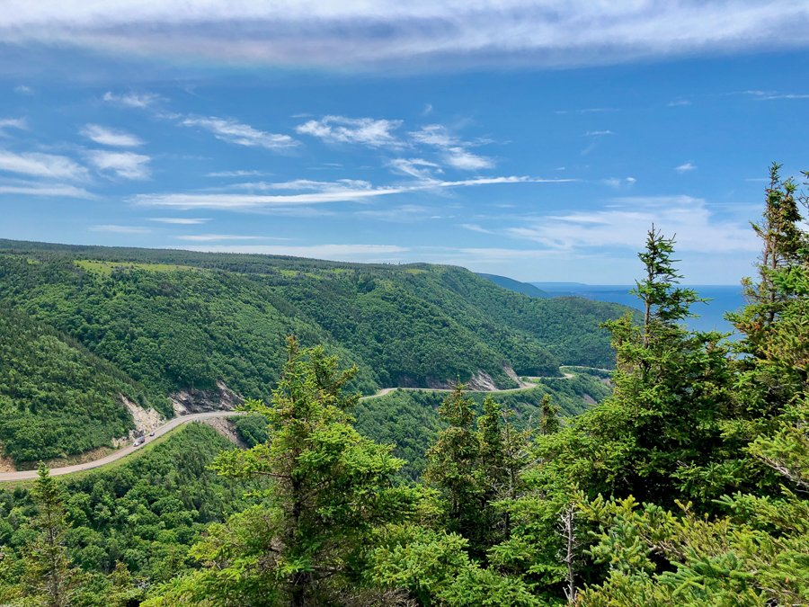 view from the skyline trail in cape breton nova scotia