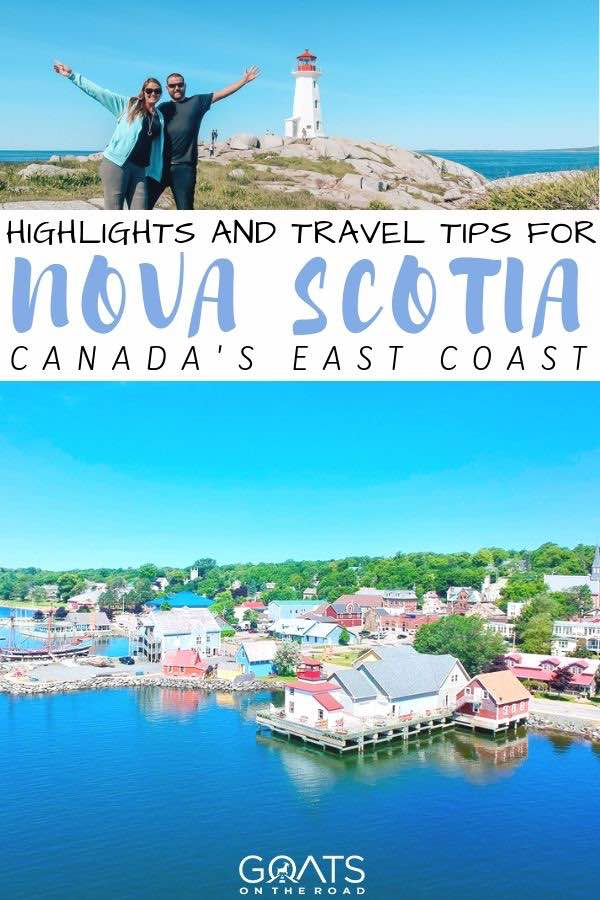 Canada's east coast with text overlay highlights and travel tips for nova scotia