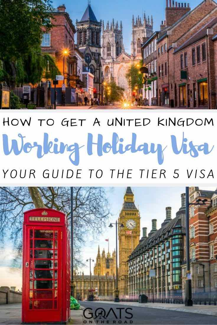 telephone booth with text overlay how to get a UK Working holiday visa