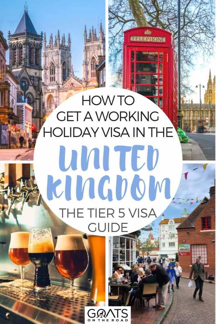 highlights of London with text overlay how to get a working holiday visa for the united kingdom