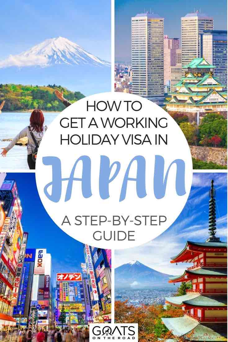 Japan highlights with text overlay how to get a working holiday visa