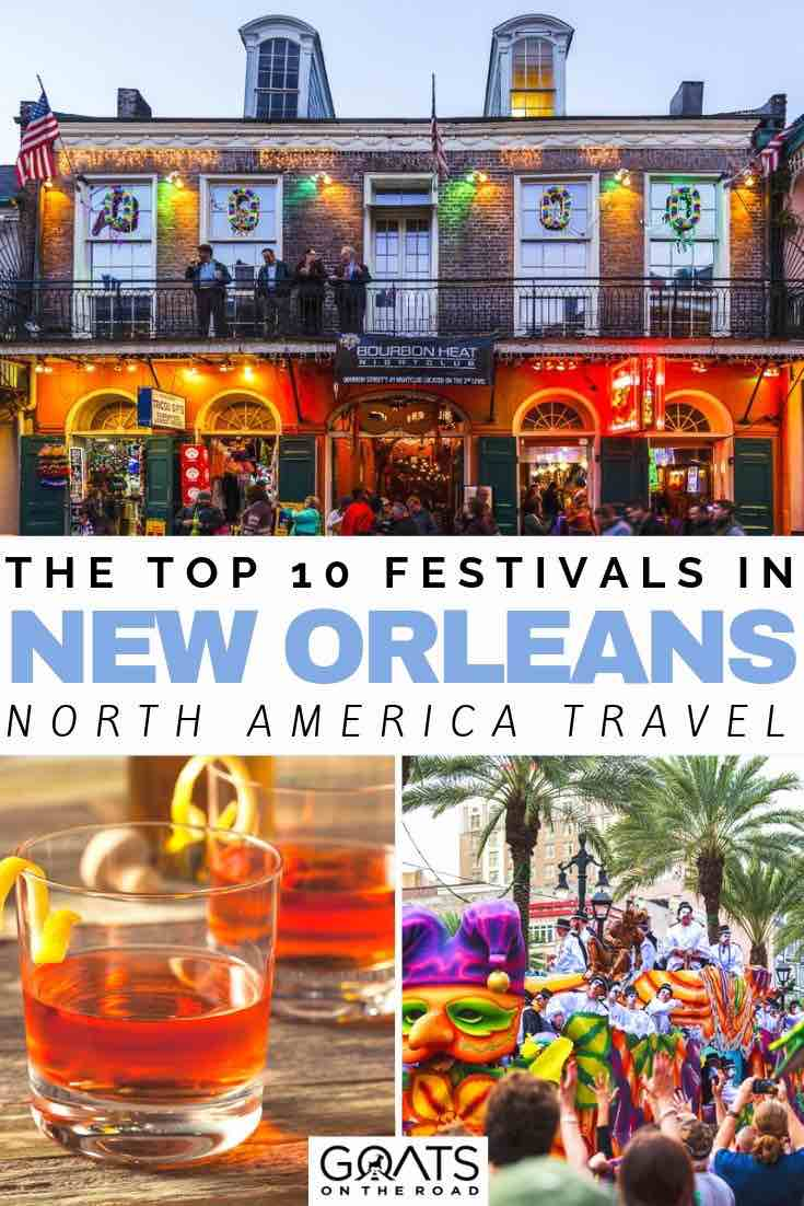 New Orleans bar with text overlay the top 10 festivals in new orleans