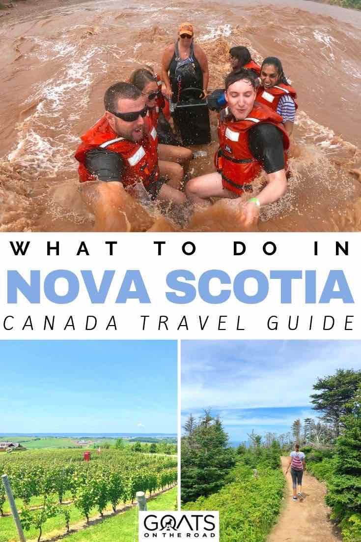 tidal bore rafting with text overlay what to do in nova scotia