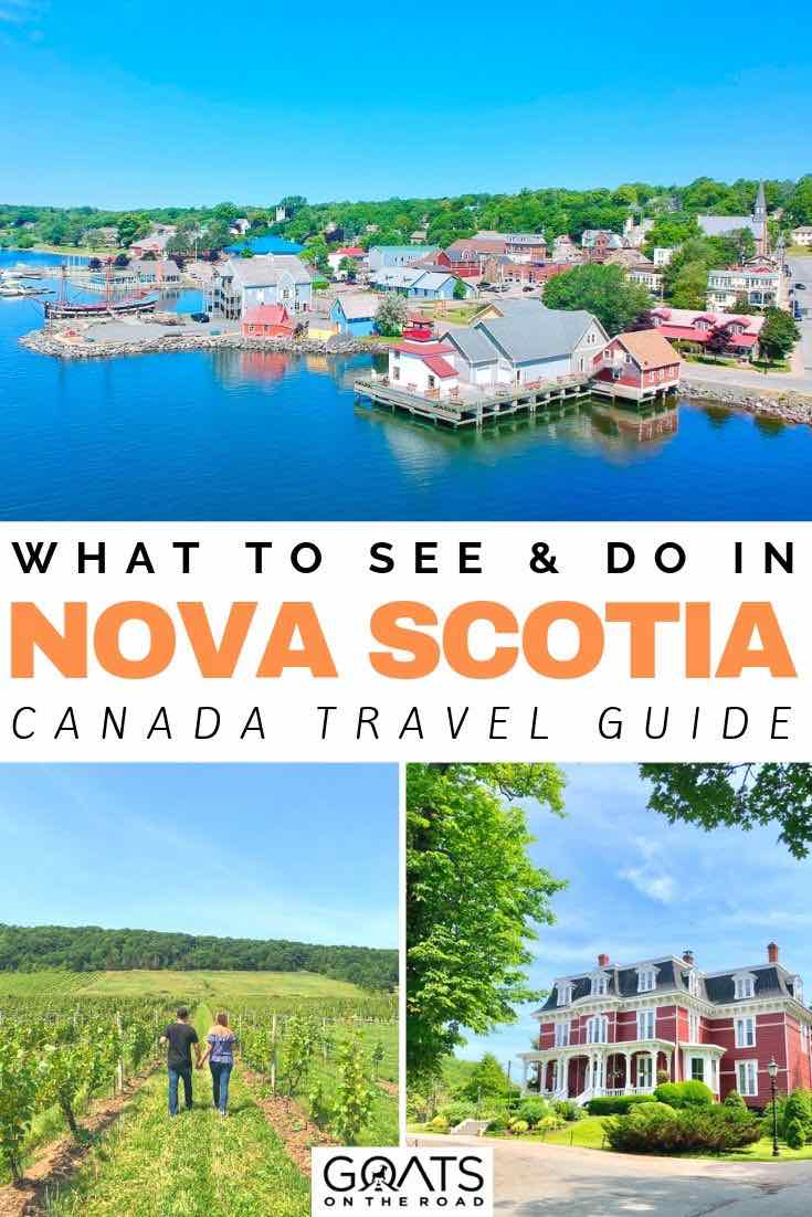 Nova Scotia with text overlay what to see and do in nova scotia
