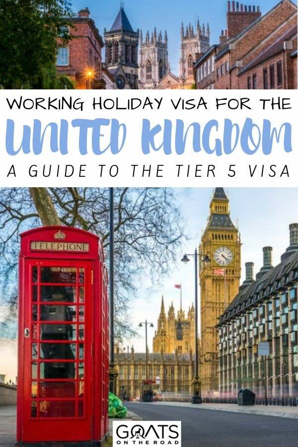 London sights with text overlay working holiday visa for united kingdom
