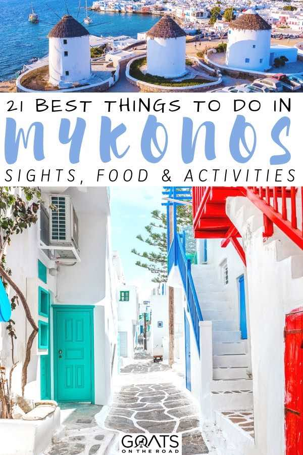 white washed streets with text overlay 21 best things to do in mykonos