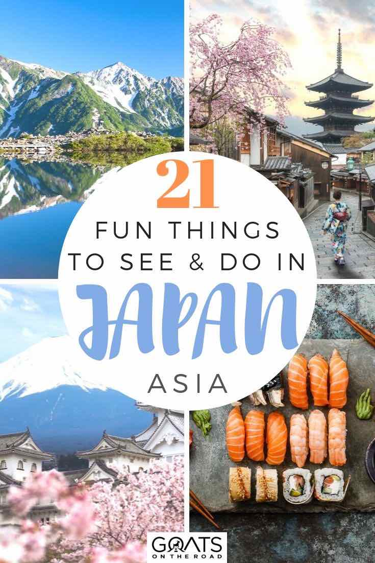 highlights of Japan with text overlay 21 fun things to see and do