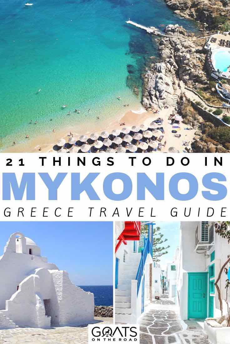 paradise beach with text overlay 21 things to do in Mykonos greece