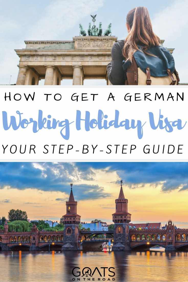 germany skyline with text overlay how to get a German working holiday visa
