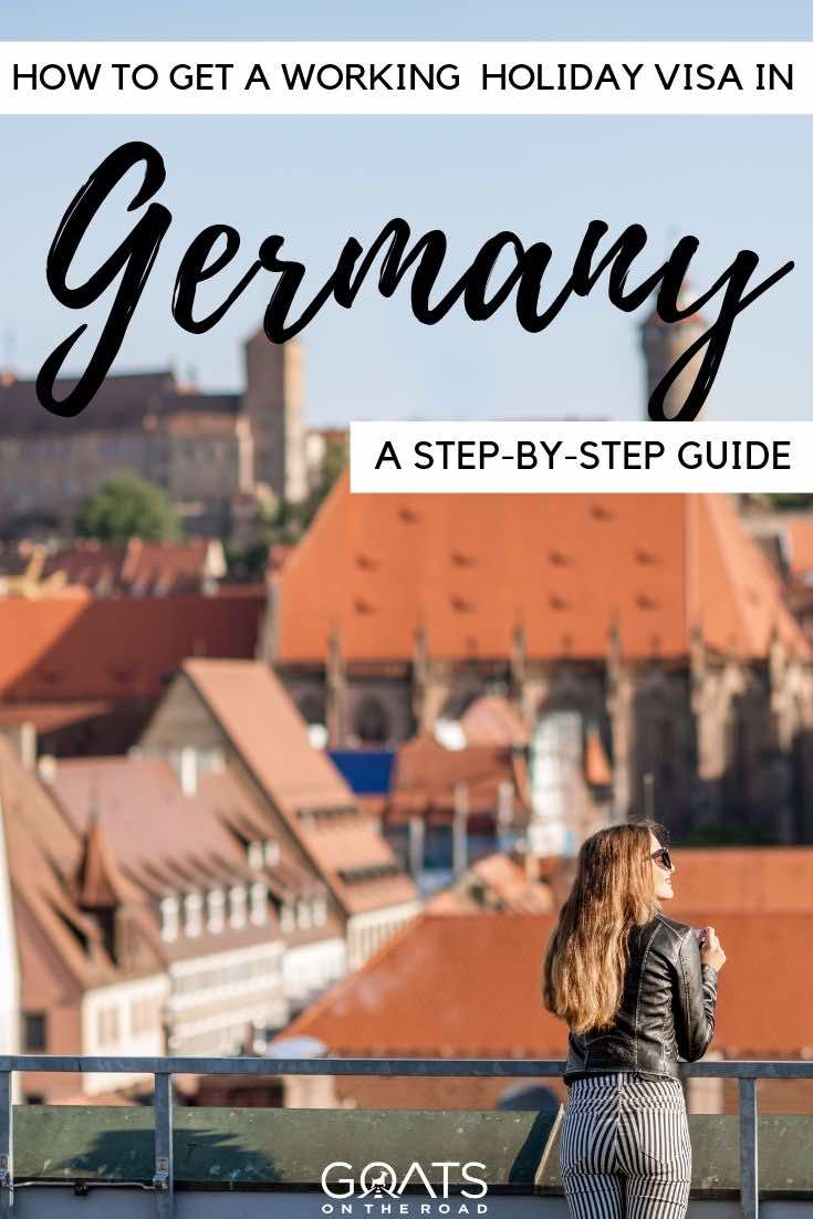 Germany town with text overlay how to get a working holiday visa