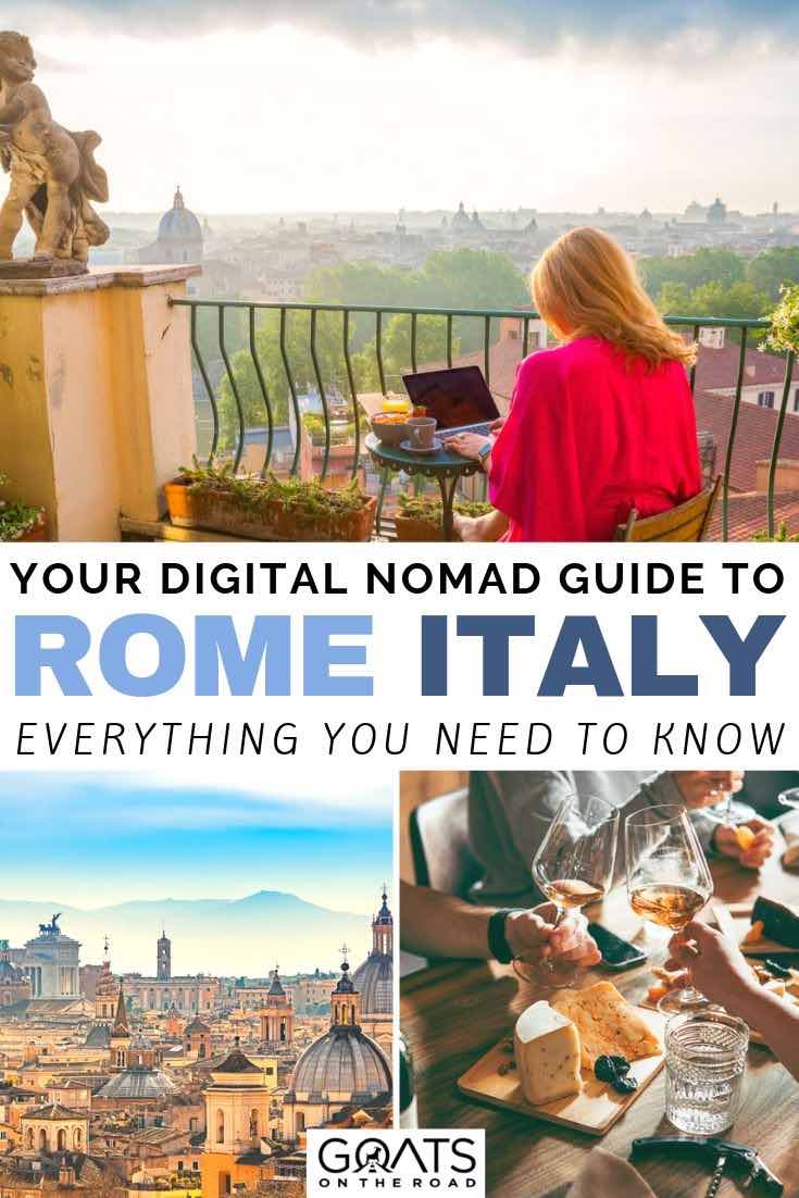 woman working in Rome with text overlay your digital nomad guide