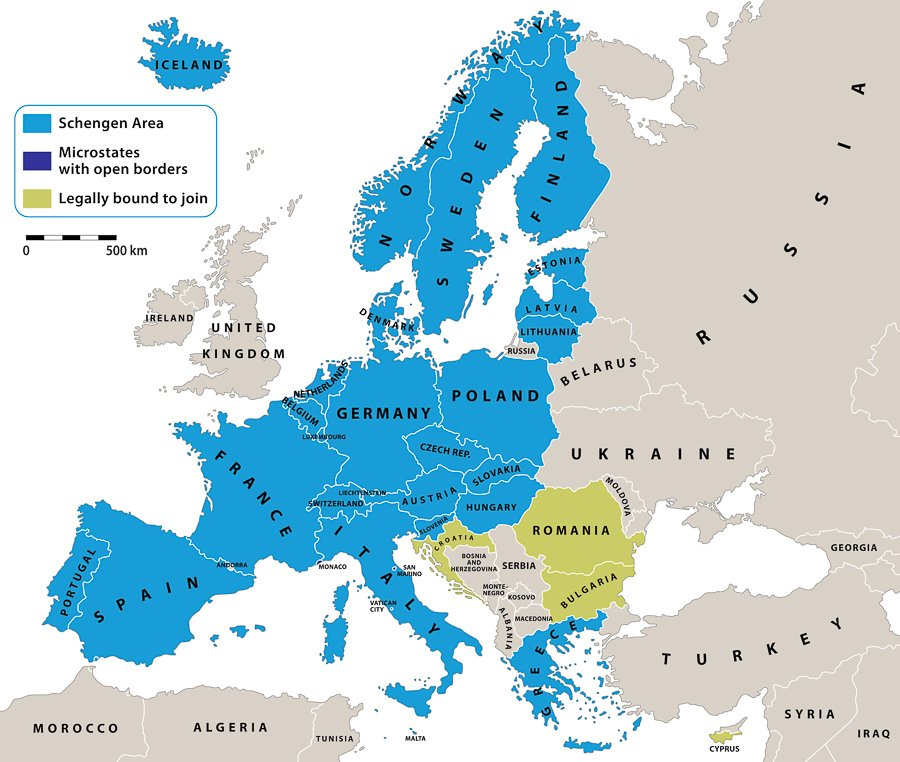 schengen visa countries map