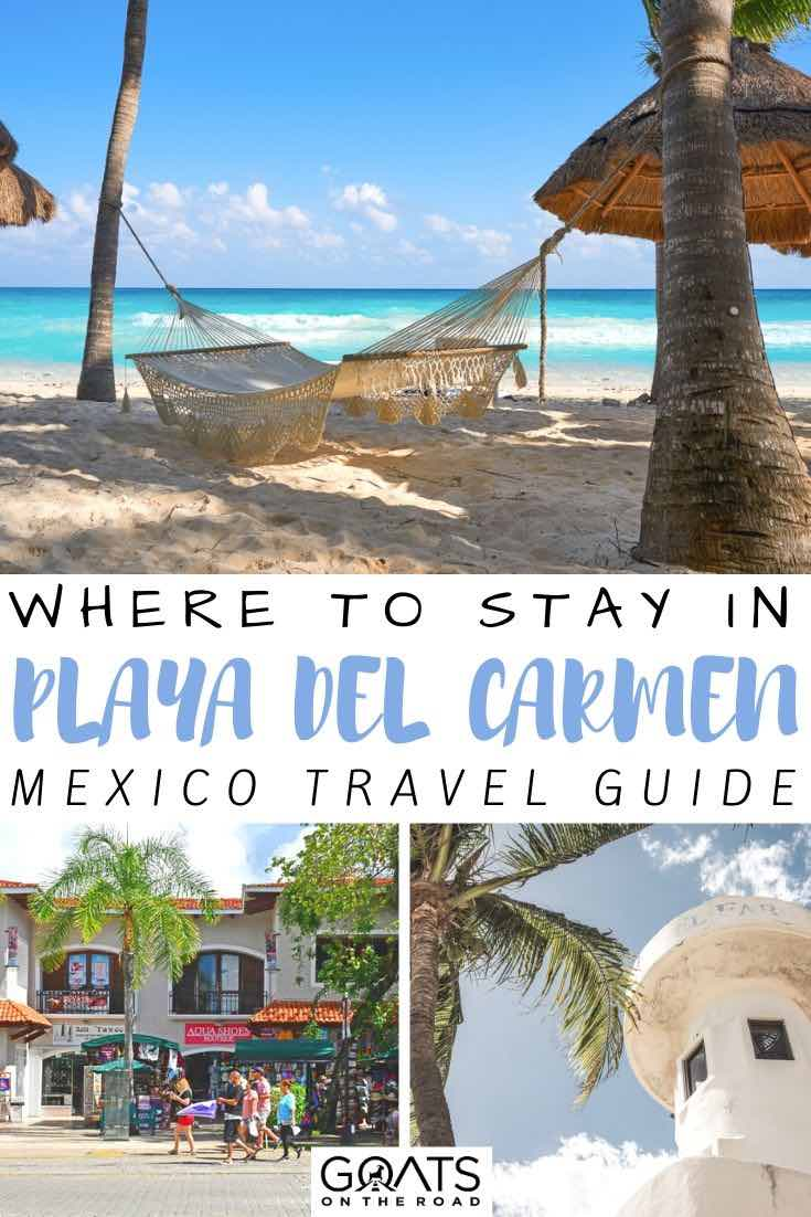 beach hammock with text overlay where to stay in playa del carmen