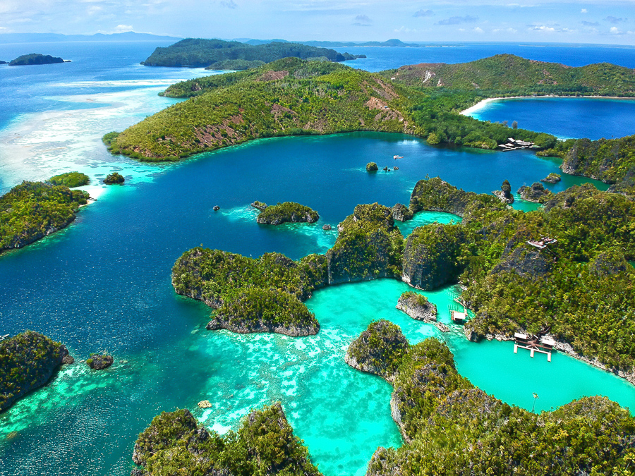 drone view of raja ampat islands