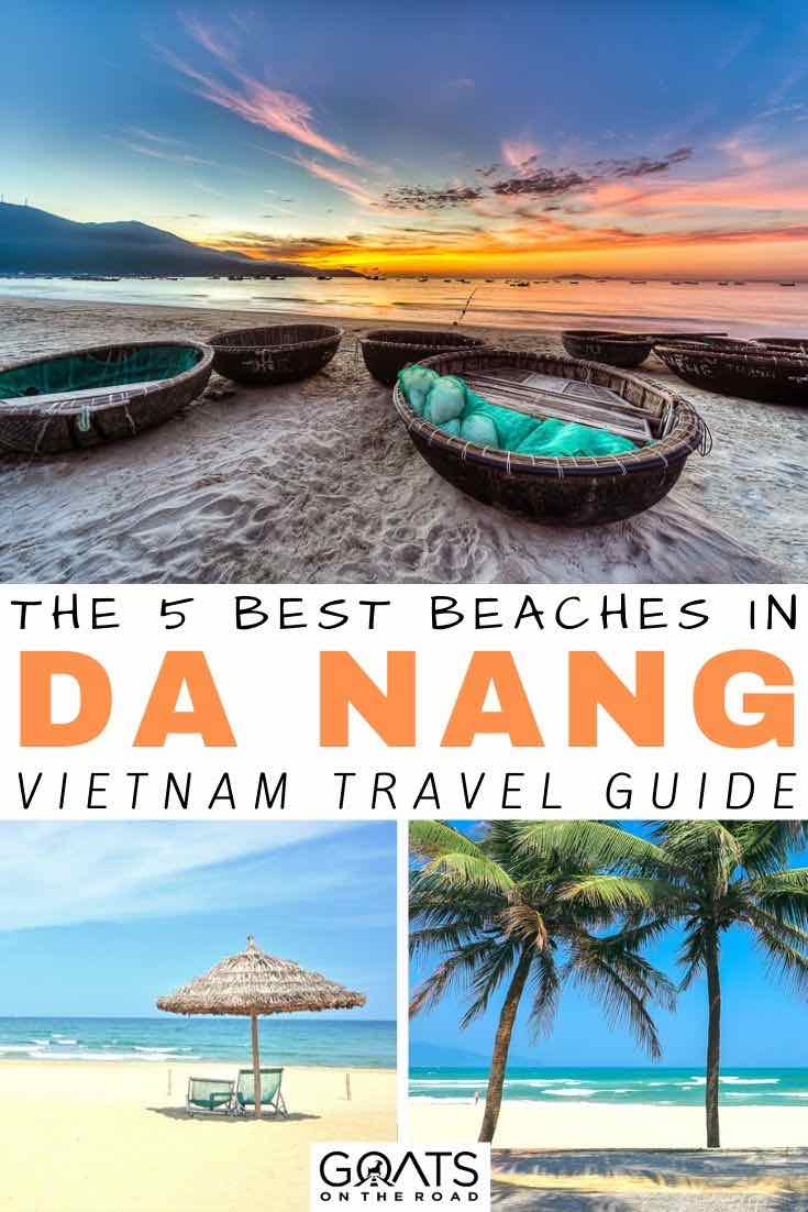 sunset with text overlay the 5 best beaches in da nang