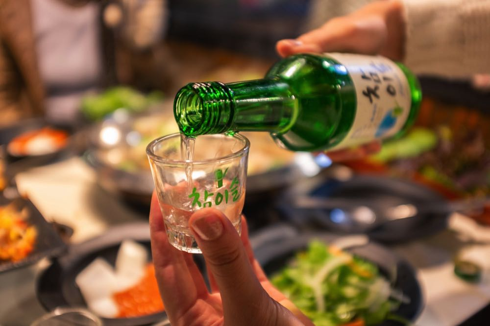 drinking soju in seoul