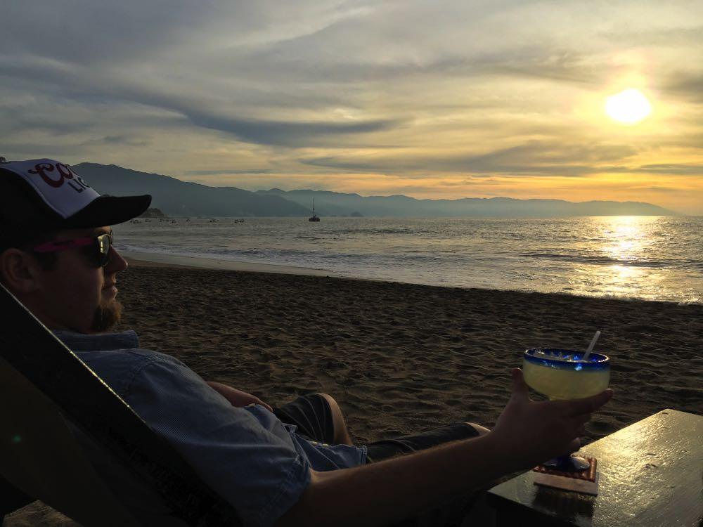 drinks on the beach in puerto vallarta