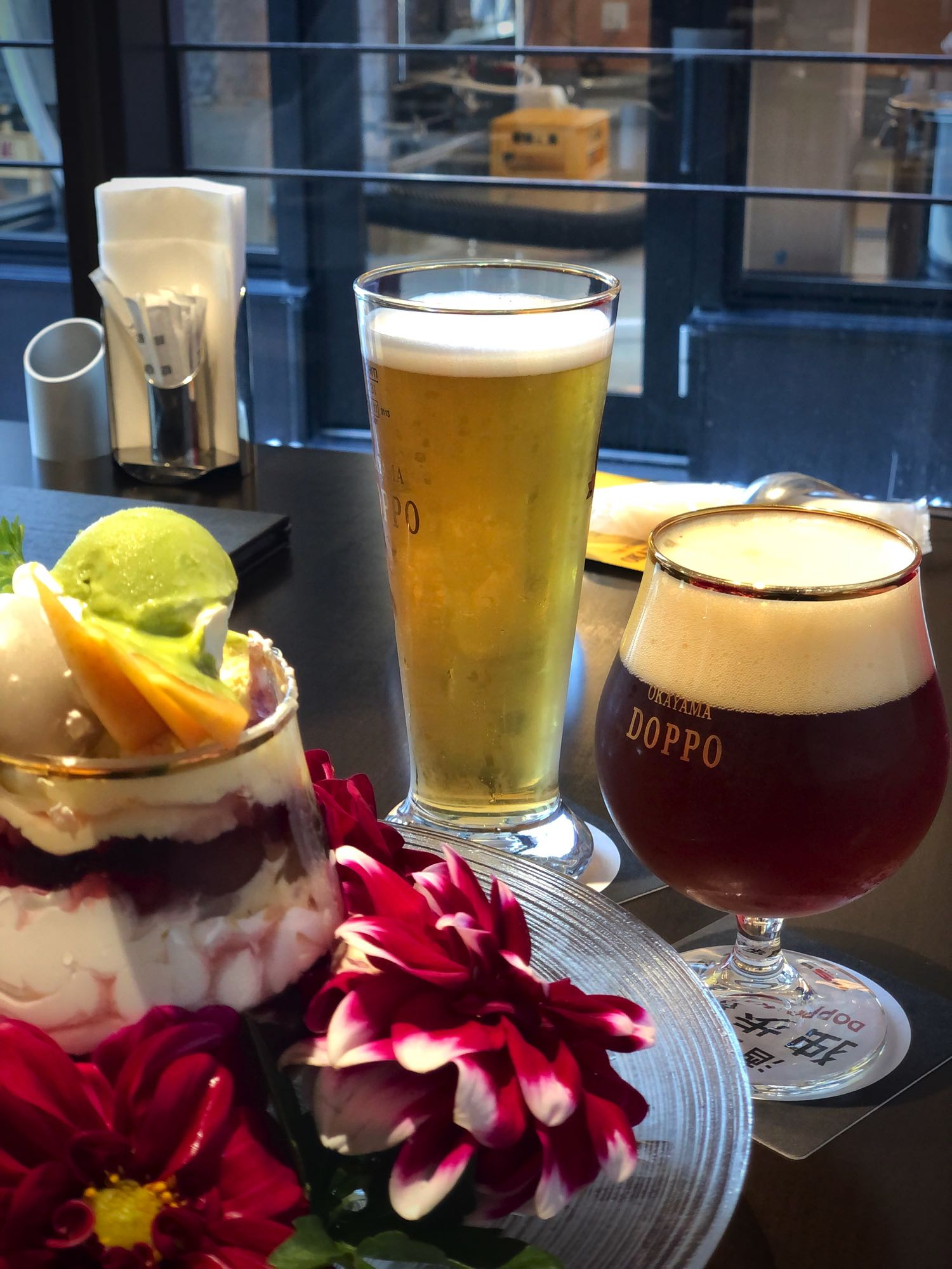 parfait and beer in okayama