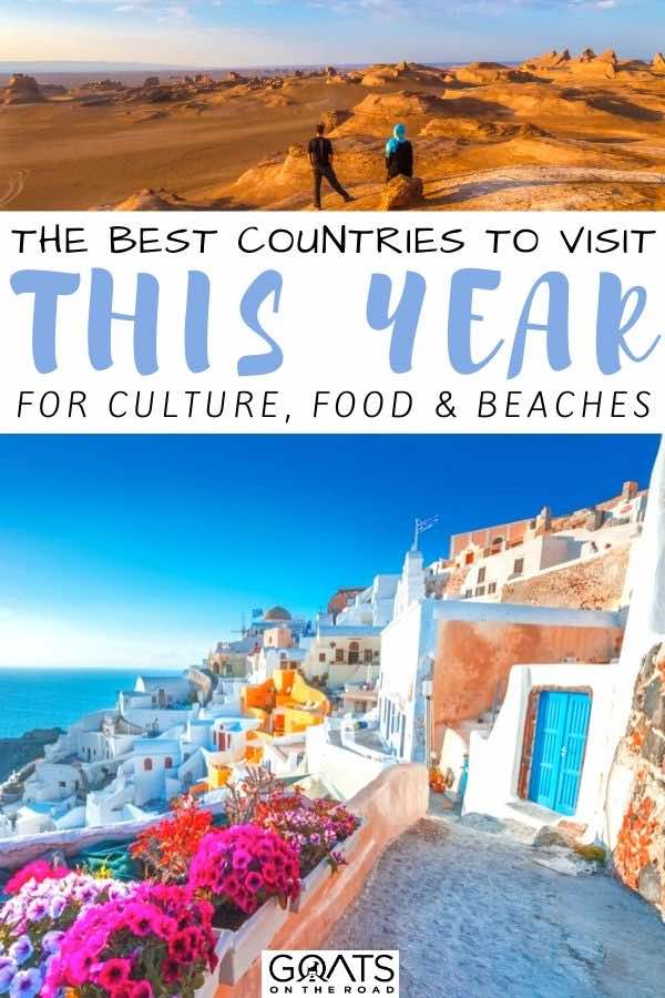 Greece with text overlay the best countries to visit this year