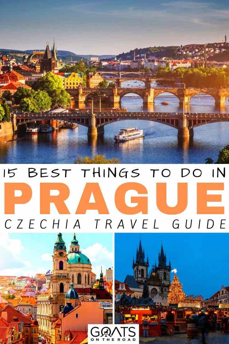 Prague river with text overlay 15 best things to do