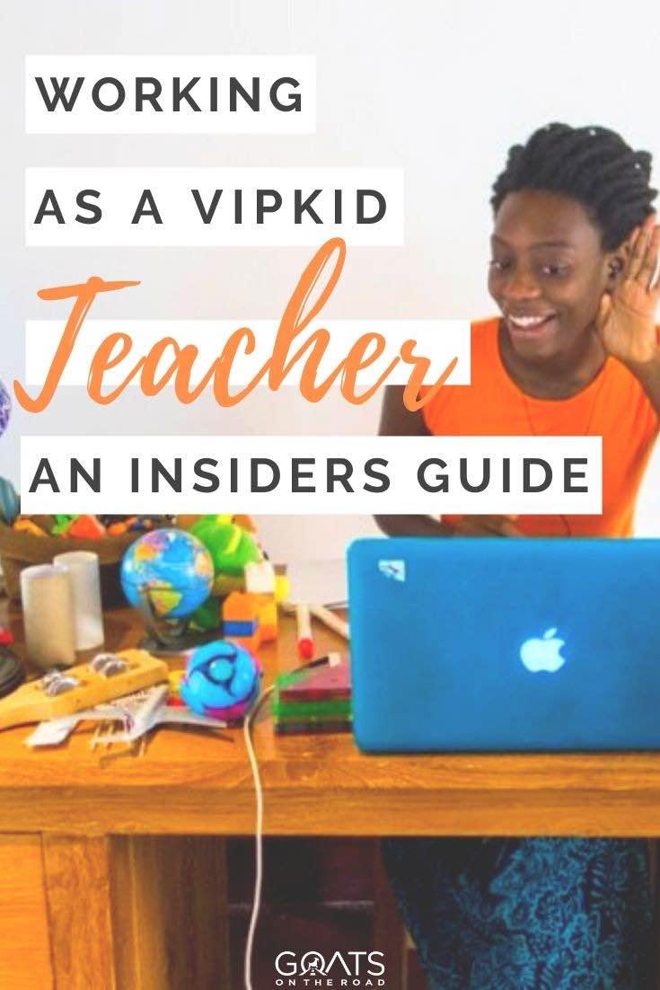 online teacher with text overlay working as a VIPKID teacher