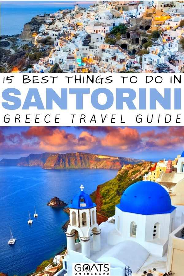 Santorini sunset with text overlay 15 best things to do