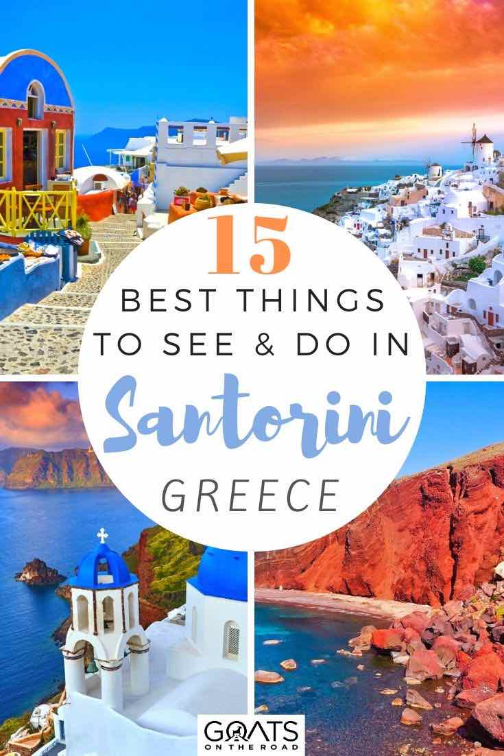 Santorini highlights with text overlay 15 best things to see and do